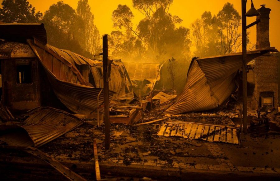 Burnt buildings in New South Wales. Via AFP
