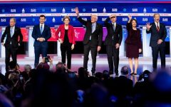 With the race for the Democratic nomination turning to crunch time as the South Carolina primary approaches and Super Tuesday looms, the candidates turned in feisty performances, frequently interrupting each other in the face of helpless moderators and an unfriendly audience. Pictured left to right: Michael Bloomberg, Pete Buttigieg, Elizabeth Warren, Bernie Sanders, Joe Biden, Amy Klobuchar, and Tom Steyer. Photo credits: Erin Schaff/The New York Times.