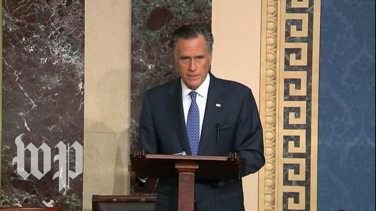 Senator Mitt Romney (R-UT) delivers prepared remarks on February 5, 2020, explaining his vote to convict President Donald Trump on the impeachment charge of abuse of power. The only member of either party to break ranks, Romney condemned the