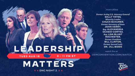 Promotional graphic for the second night of the Democratic National Convention, featuring a mix of rising stars within the party and the old guard. While the official nomination of Joe Biden featured an opportunity to show off the party