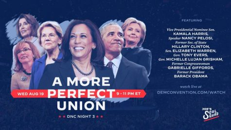 Promotional graphic for the third night of the Democratic National Convention, featuring a lineup of party heavyweights—nearly all female, for the 100th anniversary of the ratification of the 19th amendment—who focused on Biden