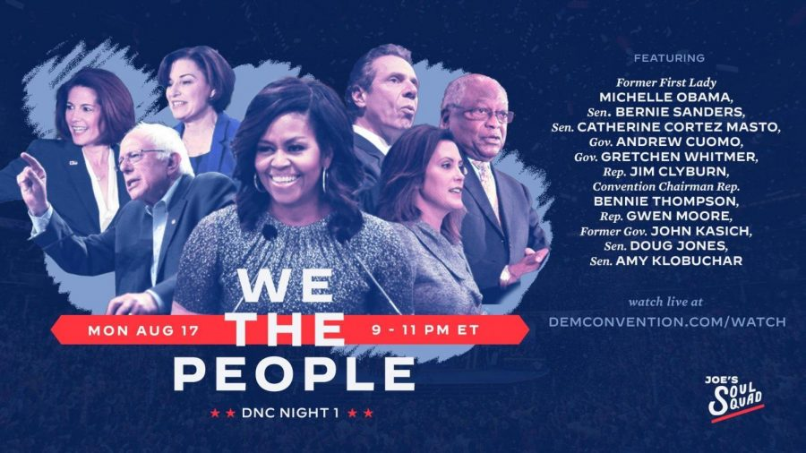 Promotional graphic for the first night of the Democratic National Convention, featuring a diverse array of speakers laser-focused on three themes of attack against Trump: his record on racial relations, his handling of the coronavirus pandemic, and his targeting of the post office. Graphic credits: Joe's Soul Squad.