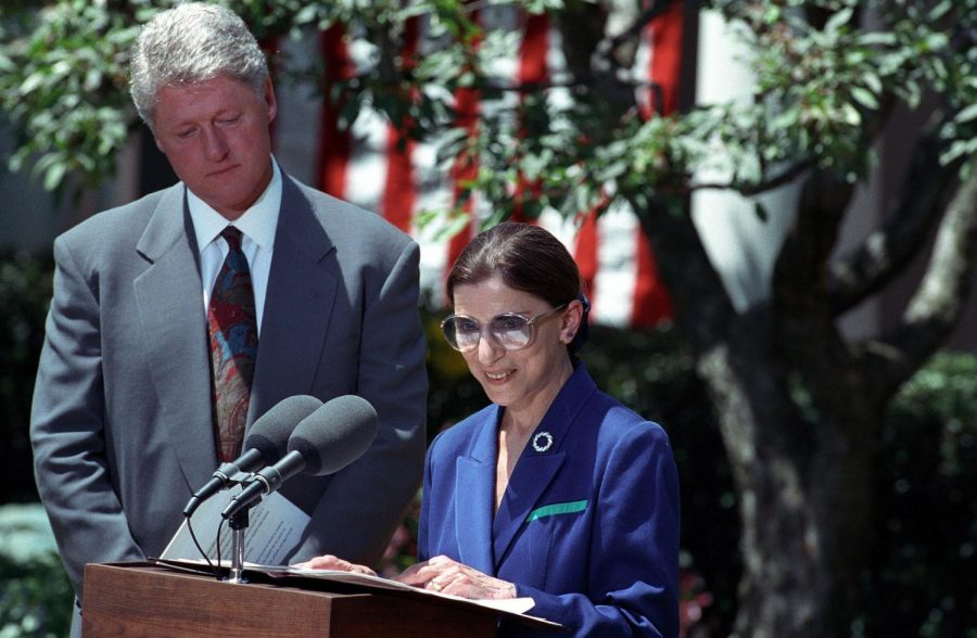 Memories of a bygone era in bipartisanship: Supreme Court Justice Ruth Bader Ginsburg (right), who passed away September 18, 2020, accepts her nomination from then-President Bill Clinton (left) in June 1993. Ginsburg was confirmed by the Senate with an overwhelming 96–3 vote, but President Trump's nomination of Amy Coney Barrett to succeed her is likely to start an apocalyptic confirmation battle in today's hyperpartisan Washington. Photo credits: U.S. National Archives and Records Administration.