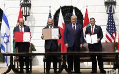 Image from the signing of the Peace Deal with leaders from United Arab Emirates, Israel, and Bahrain from UPI.com